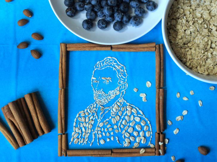 Oatmeal Transformed into Famous Paintings by Sarah Rosado Creative Fooding