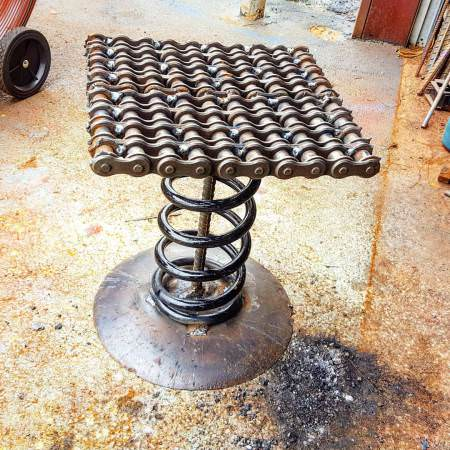 Industrial Scrap Metal Spring Bar Stool by Raymond Guest DIY + Crafts