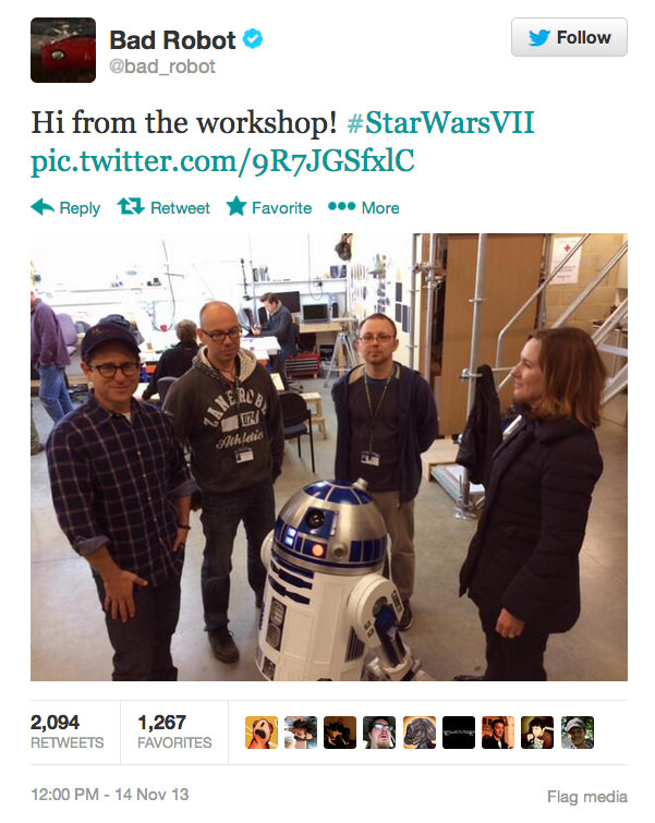 "R2d2 Hangs Out With J.j. Abrams Behind The Scenes Of ""star Wars Vii"" Photography"