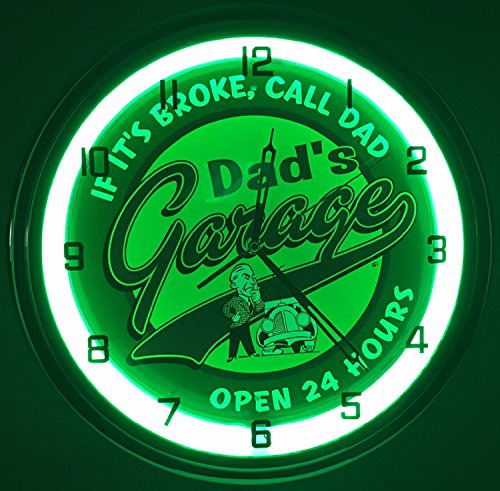 "Dads Garage 15"" Neon Light Wall Clock Man Cave Workshop"