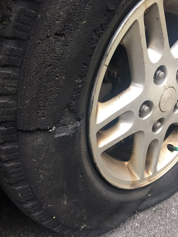 Woman Posts Pics Of Her 'slashed Tire' On Twitter, But Someone Quickly Proves She's Lying And It's Hilarious Funny