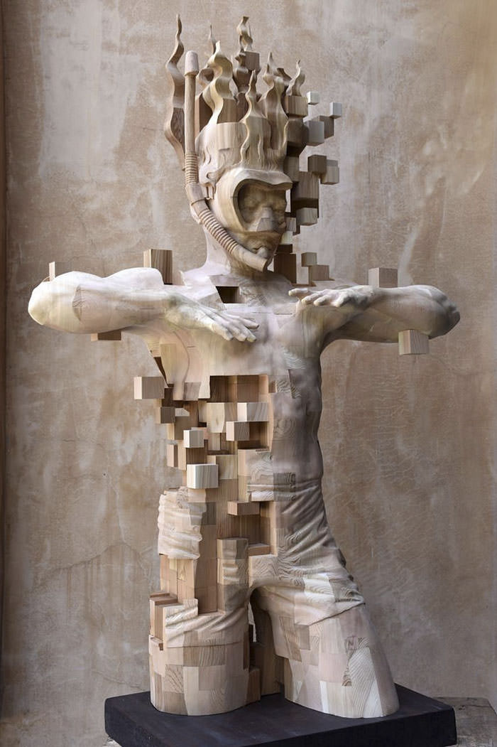 These Pixelated Sculptures That Look Like Computer Glitches Are Actually Made From Wood Gift