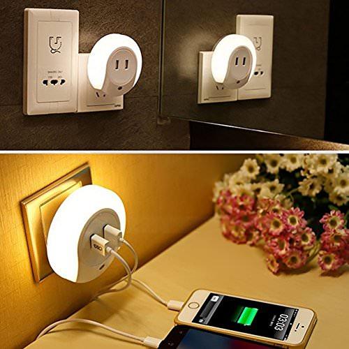 Creative Night Light 2 Slot Usb Charger Lamp Novelty Li