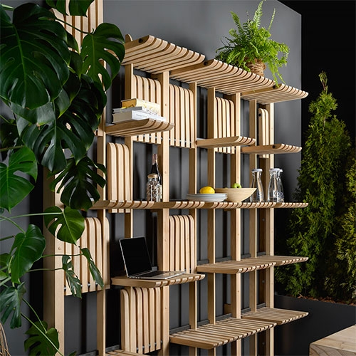 Zakh Architects Gate Shelving/Furniture System. A Modular Collection Of Movable Wooden Bars Placed On A Metal Rod Creati… – #63151 Design