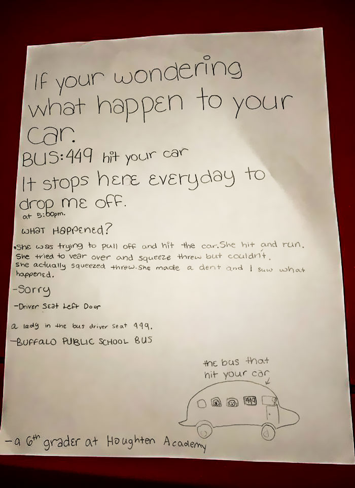 Guy Notices That Someone Hit And Run His Car, Finds A Hilarious Note From A 6th Grader Funny