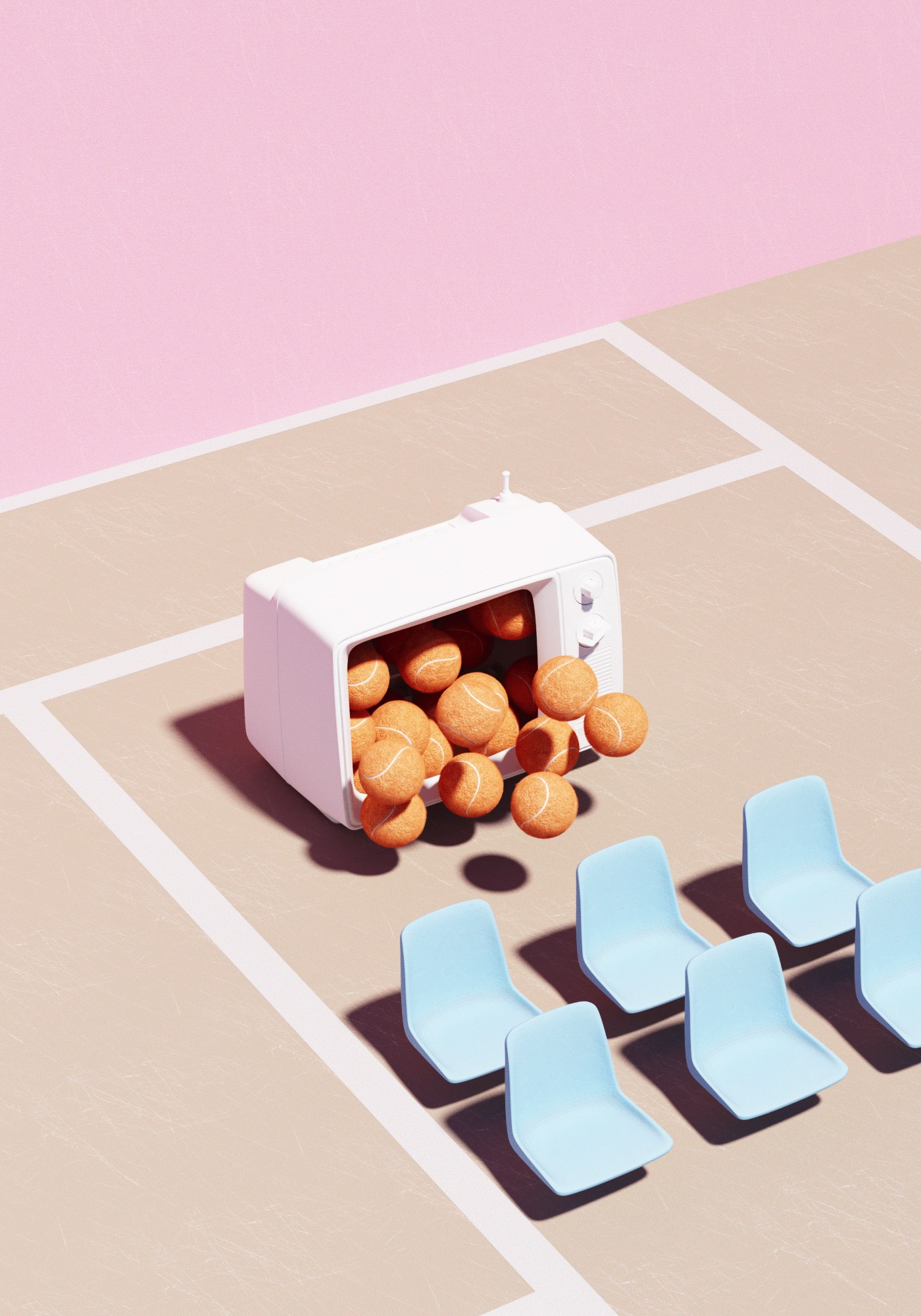 Surreal Tennis Composition with Dreamy Tones – Fubiz Media Design